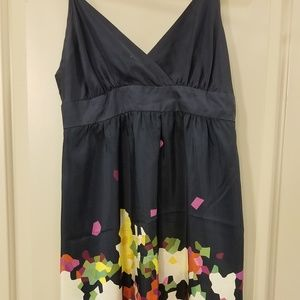Theory Navy Mosaic Floral Silk Dress - Size 6